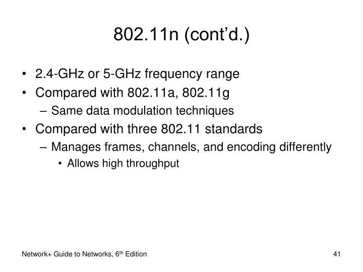 802.11n (cont'd.)