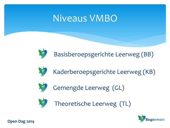 Niveaus VMBO