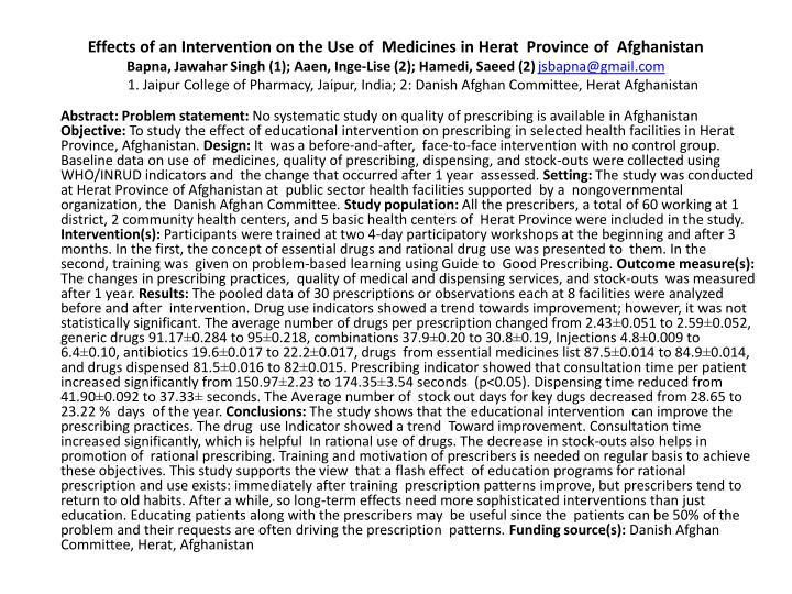 Effects of an Intervention on the Use of  Medicines in Herat  Province of  Afghanistan