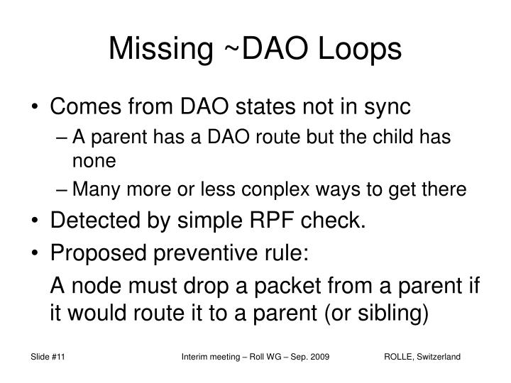Missing ~DAO Loops