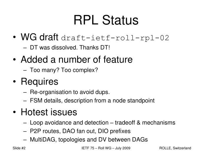 RPL Status