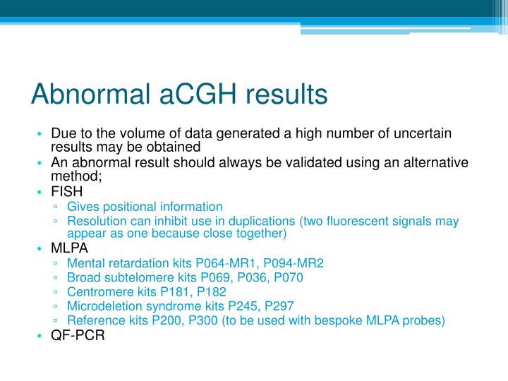 Abnormal aCGH results