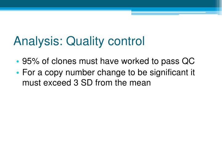 Analysis: Quality control