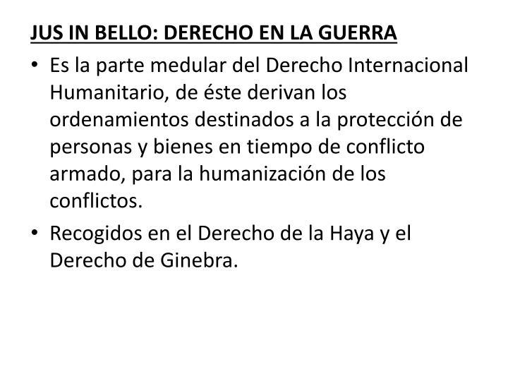 JUS IN BELLO: DERECHO EN LA GUERRA