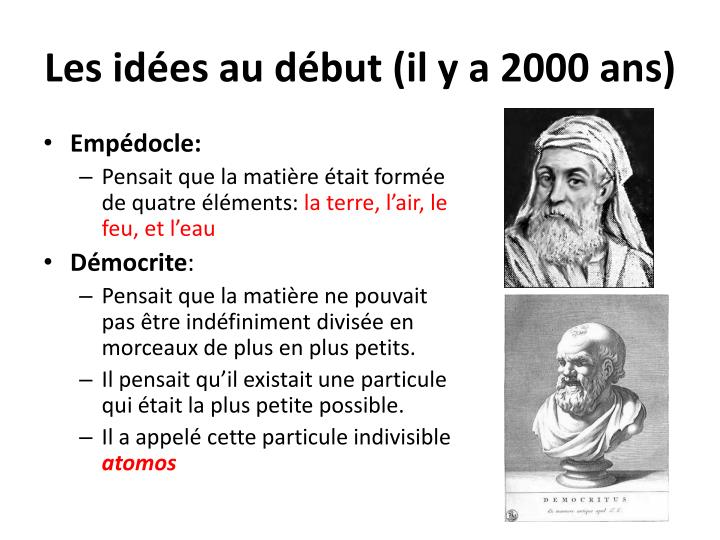 Les idées au début (il y a 2000 ans)