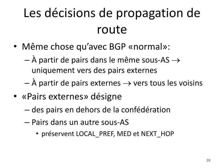 Les décisions de propagation de route