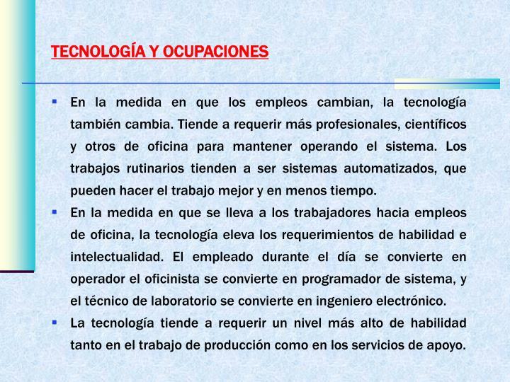 TECNOLOGÍA Y OCUPACIONES