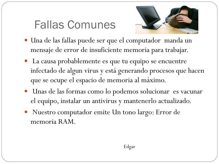 Fallas Comunes