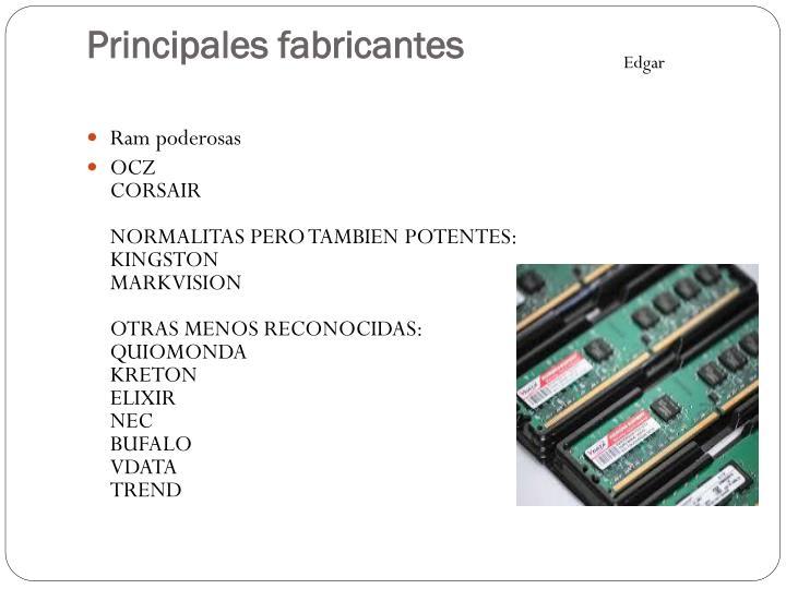Principales fabricantes