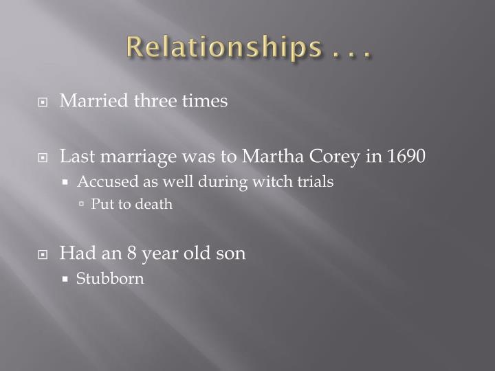 Relationships . . .