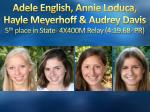 adele english annie loduca hayle meyerhoff audrey davis 5 th place in state 4x400m relay 4 19 68 pr