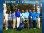boys golf 3 rd place at state