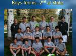 boys tennis 2 nd at state