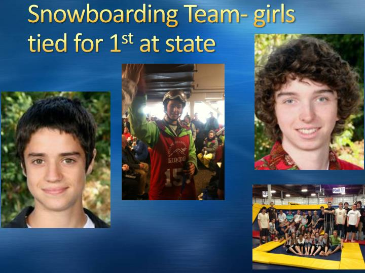 Snowboarding Team- girls tied for 1