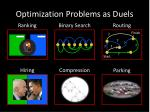 optimization problems as duels