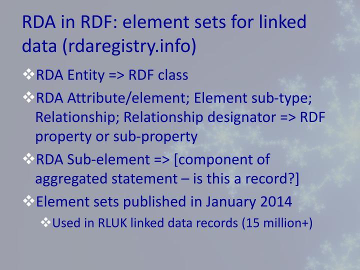 RDA in RDF: element sets for linked data (rdaregistry.info)