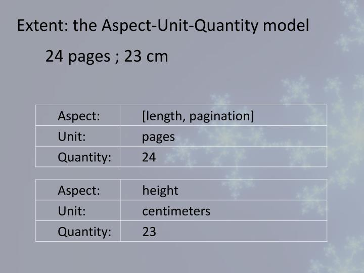 Extent: the Aspect-Unit-Quantity model
