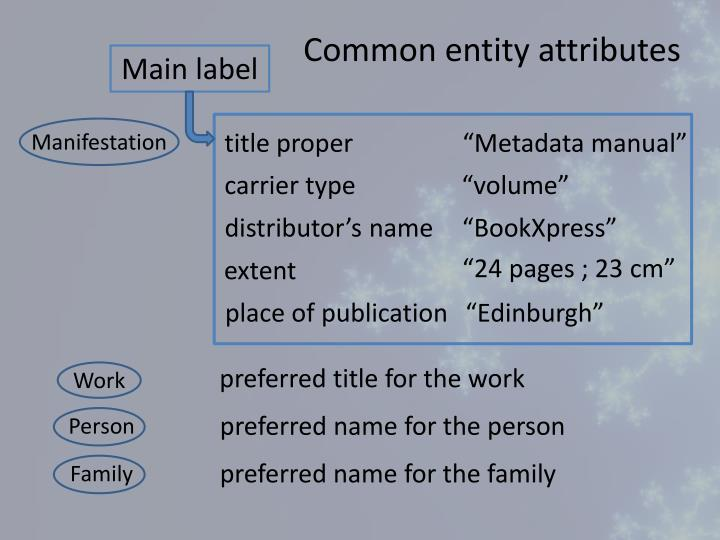 Common entity attributes