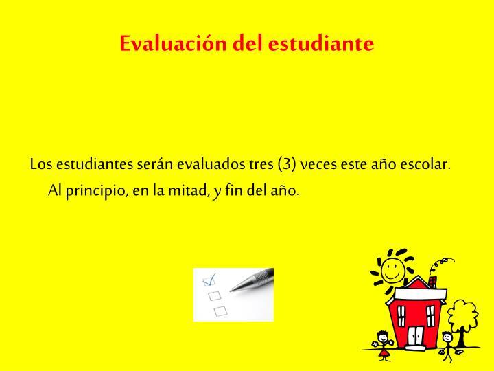 Evaluación del estudiante