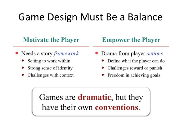 Game Design Must Be a Balance
