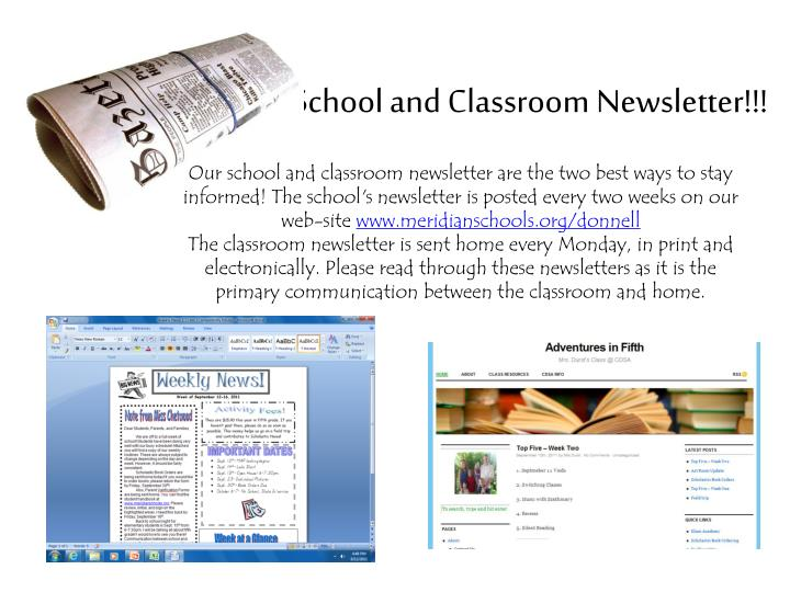 School and Classroom Newsletter!!!