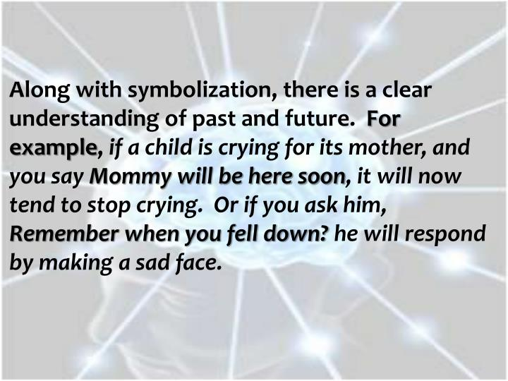 Along with symbolization, there is a clear understanding of past and future.