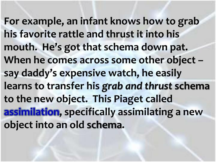 For example, an infant knows how to grab his favorite rattle and thrust it into his mouth.  He's got that schema down pat.  When he comes across some other object – say daddy's expensive watch, he easily learns to transfer his