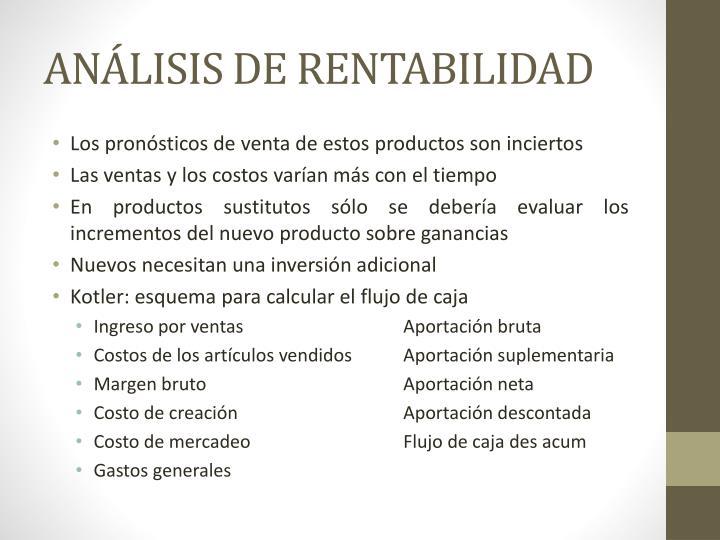 ANÁLISIS DE RENTABILIDAD