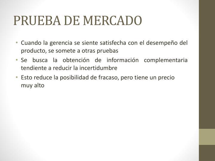 PRUEBA DE MERCADO