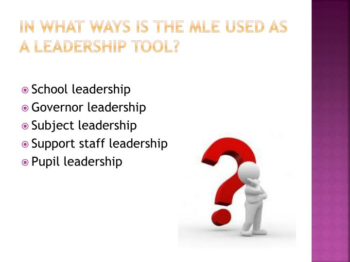In what ways is the MLE used as a leadership tool?