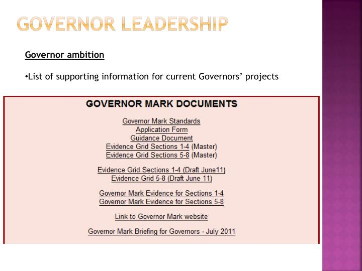 Governor leadership