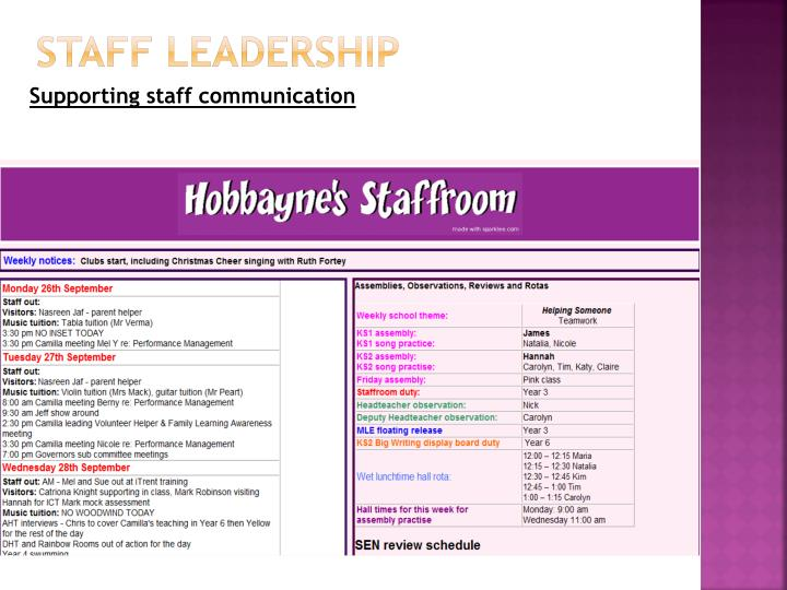 Staff leadership
