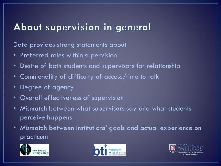 About supervision in general