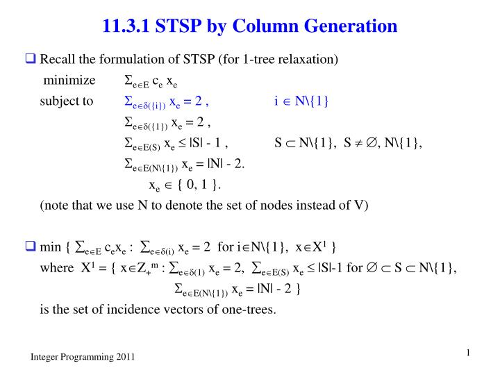11.3.1 STSP by Column Generation