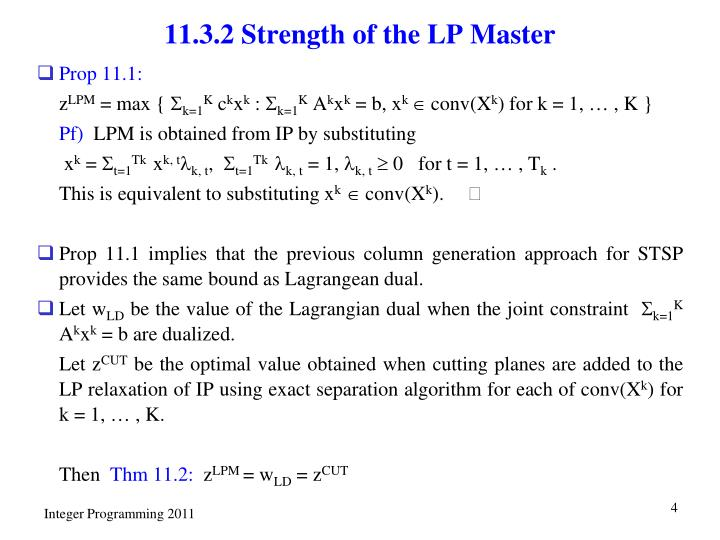 11.3.2 Strength of the LP Master