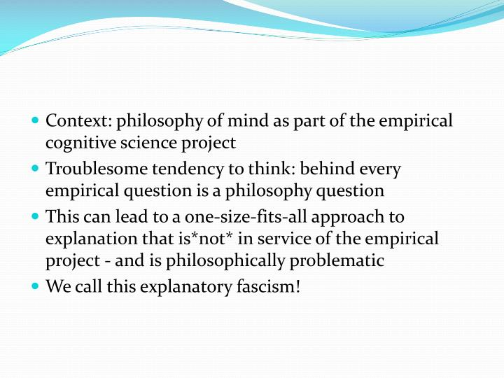 Context: philosophy of mind as part of the empirical cognitive science project