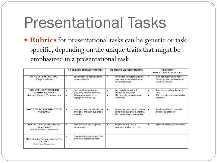 Presentational Tasks