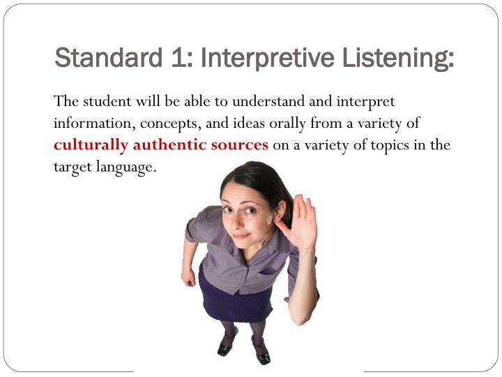 Standard 1: Interpretive Listening: