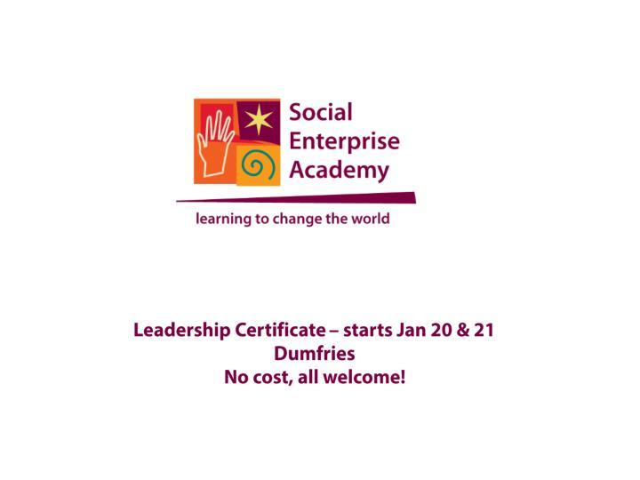 Leadership Certificate – starts Jan 20 & 21