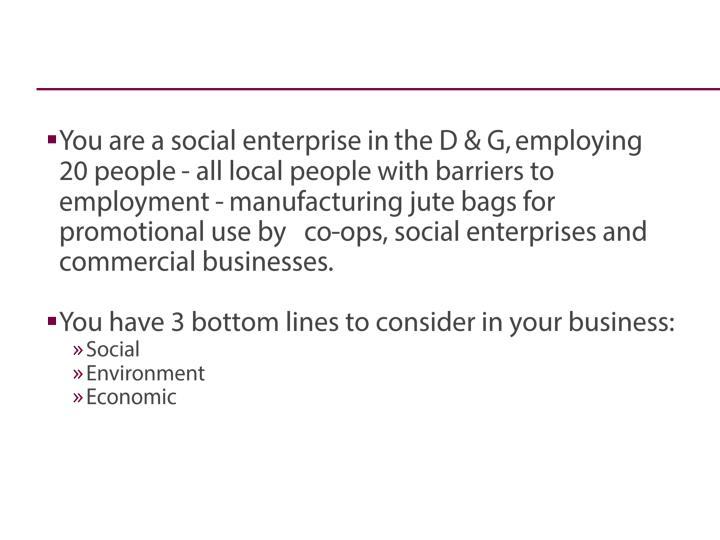 You are a social enterprise in
