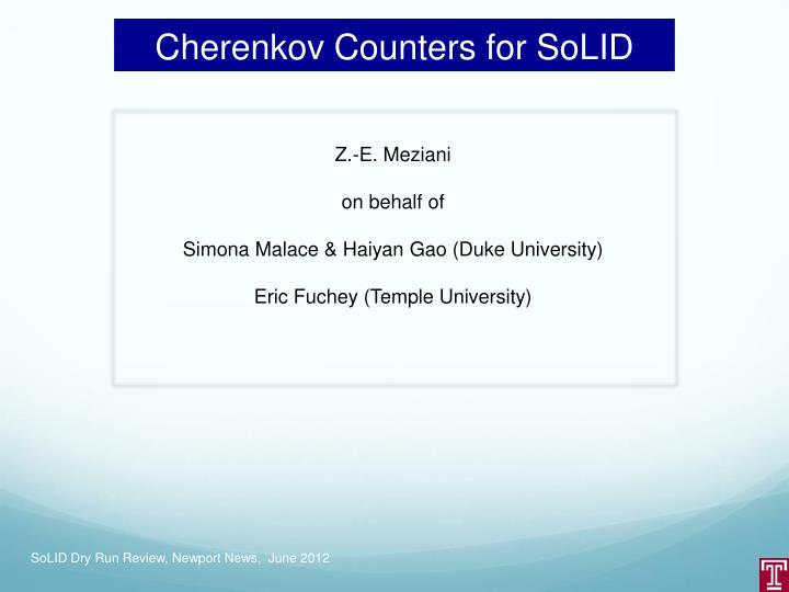 Cherenkov counters for solid
