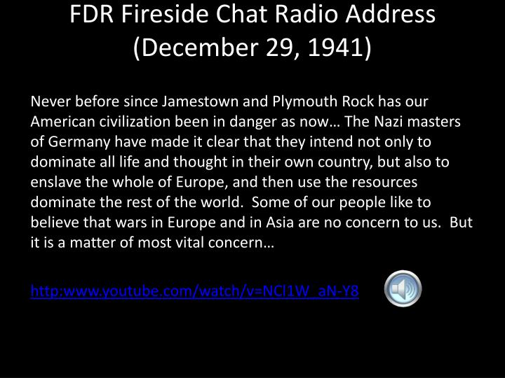 FDR Fireside Chat Radio Address (December 29, 1941)