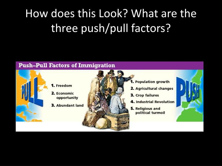 How does this Look? What are the three push/pull factors?