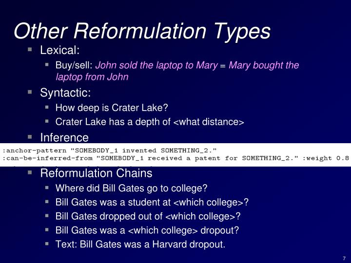 Other Reformulation Types