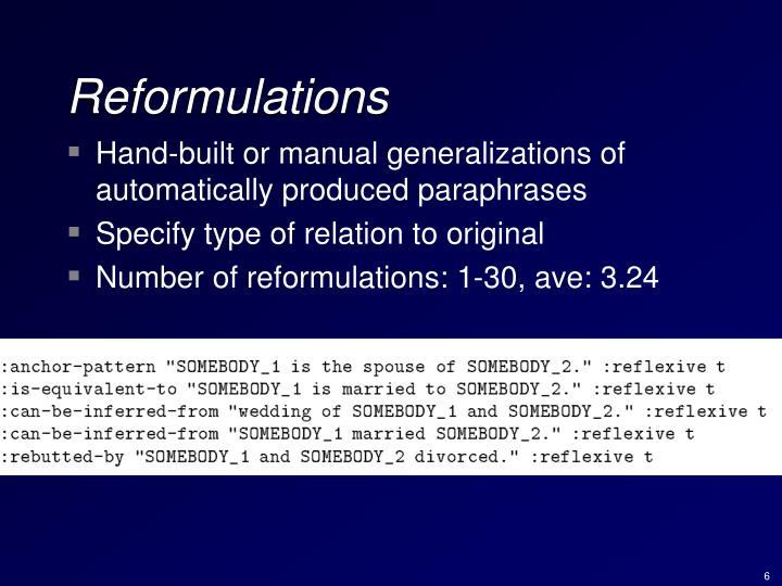 Reformulations