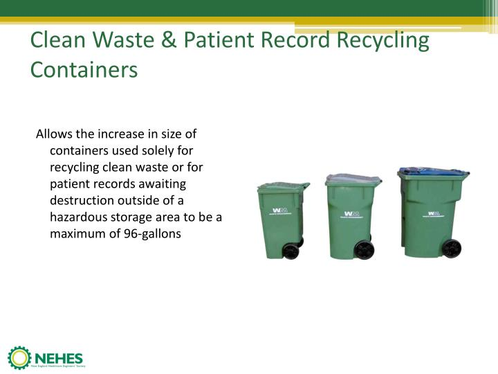 Clean Waste & Patient Record Recycling Containers