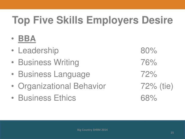 Top Five Skills Employers Desire