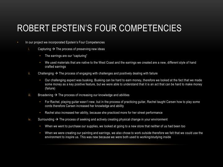 Robert Epstein's four competencies