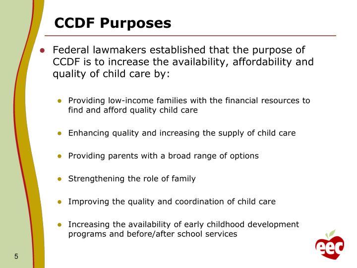 CCDF Purposes