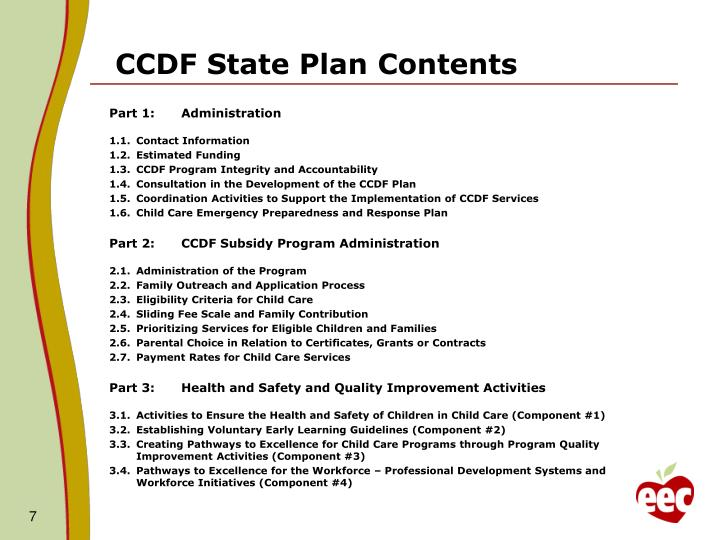 CCDF State Plan Contents
